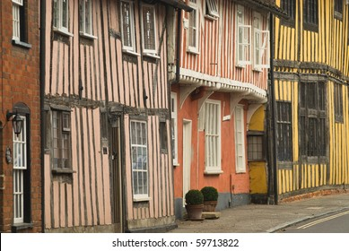 Close-up of the facades of timber-framed Tudor houses in Lavenham