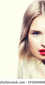 Close-up face portrait of young beautiful beauty model girl with luxury hair style and bright make up. Light background. Isolated