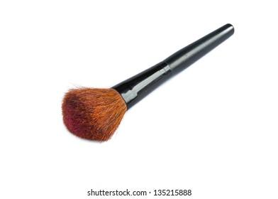 closeup of face powder brush isolated on white