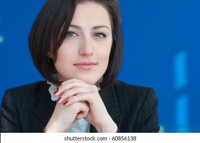 Close-up of the face of a pretty and young businesswoman