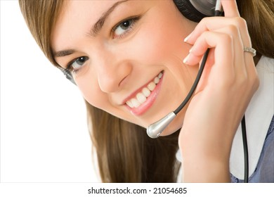 Close-up face of smiling woman in headphones on a white background