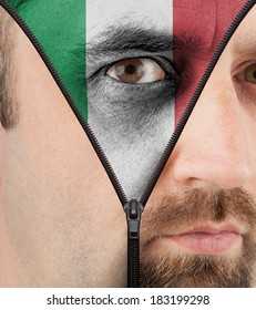 close-up of a face unzipping to show the flag of Italy