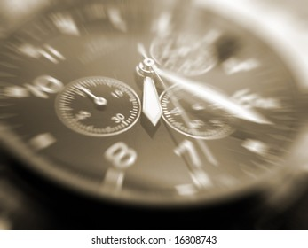 close-up of face of wrist watch sepia toned