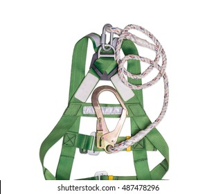 Closeup fall protection Hook harness and lanyard for work at heights Isolated on white background. Clipping path included.
