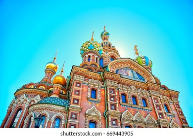 closeup of famous church of the Savior on Spilled Blood in Saint Petersburg, Russia.