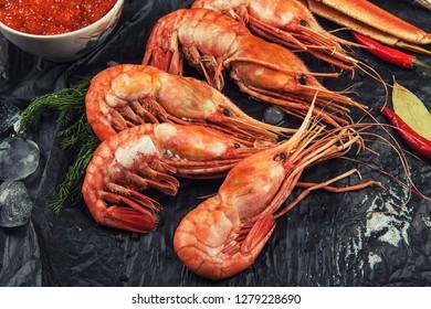Closeup of far eastern botan shrimp with lemon
