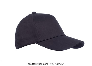 Closeup of the fashion blac isolated on white background. Baseball Cap, sport.