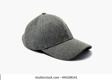 Closeup of fashion gray cap isolated on white background.