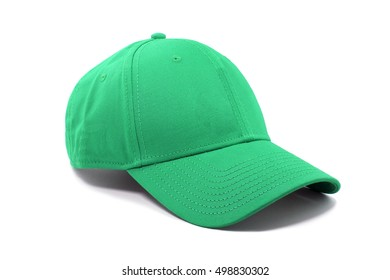 Closeup of the fashion green cap isolated on white background.