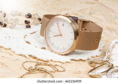 closeup fashion wristwatch, beautiful wristwatch for unisex