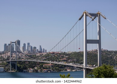 Close-up of Fatih Sultan Mehmet Bridge. It was taken in the Beykoz area. Green plants and trees.