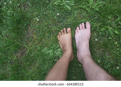 Closeup Of Feet Asian Lady And Feet Caucasian Man Couple And Together Concept In Spring