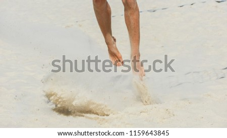 e3934e043 ... Stock Photo (Edit Now) 1159643845 - Shutterstock. Close-up of feet and  legs of a male beach volleyball player