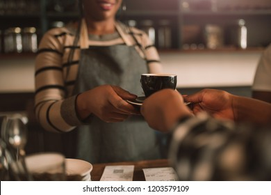 Closeup of a female barista handing a freshly made cappuccino to a customer while standing at the counter of a cafe