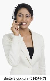 Close-up of a female customer service representative