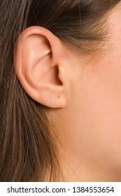 Closeup of female ear and long hair