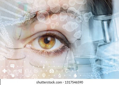 A closeup of a female eye looking straight behind the system of laboratory tools and equipment images, dna and molecule models and medical symbols. The innovative approach in eye diseases treatment.