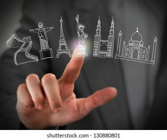 Closeup of female finger touching virtual symbol of famous touristic destination. Online booking concept
