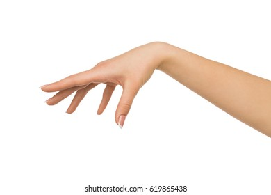 Close-up of female hand making gesture while grab some items on white isolated background, cutout, copy space