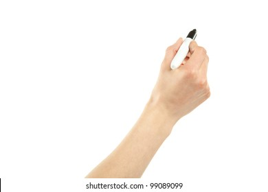Closeup of a female hand writing with marker isolated on white; copy space