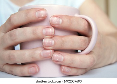 Close-up of female hands with a lot of white dots on nails, holding mug, neat manicure