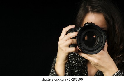 Close-up of Female Photographer w/SLR