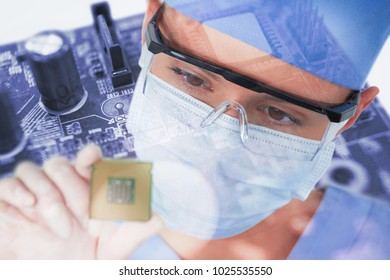 Close-up of female surgeon holding processor against micro parts of mother board
