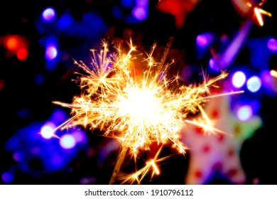 close-up of festive sparklers, Christmas party