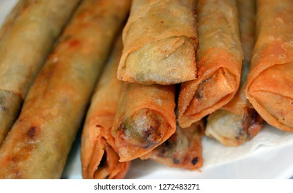 Closeup Filipino lumpia eggrolls