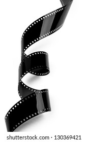 Closeup of film strip isolated on white background. Clipping path included.