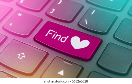 Close-up the Find heart button on the keyboard and have pink color button