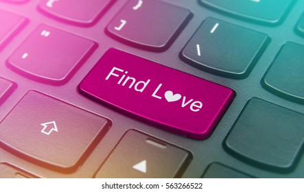 Close-up the Find love button on the keyboard and have pink color button