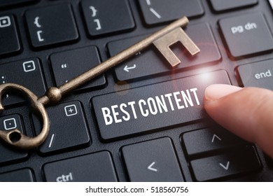 Closeup of finger on keyboard with words BEST CONTENT