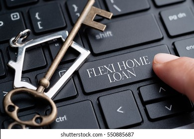 Closeup of finger on keyboard with words Flexi Home Loan