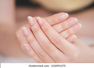 Close-Up fingernail of women, Concept of health care of the fingernail.
