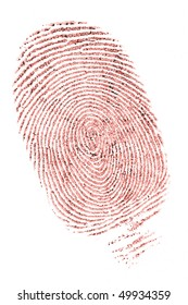 closeup of a fingerprint in red ink on white