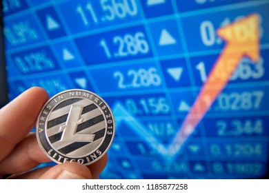 closeup fingers hold the bitcoin coin in front of stock market screen which is rising