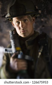 Closeup of fire fighter at work