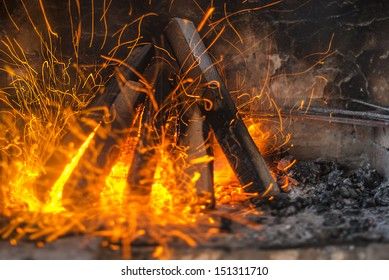 Close-up of fire in the fireplace