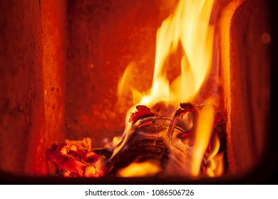 Close-up of fire and flames in fireplace
