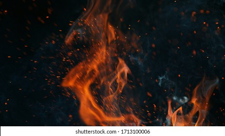 Closeup of fire isolated on black background