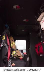 Close-up fire truck equipment detail. Front driver panel cockpit.
