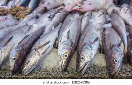 Close-up of fish at a market stall. Haddock.