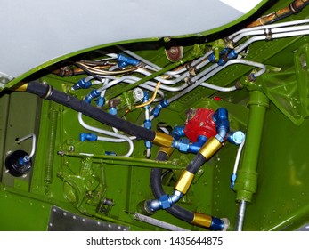 Close-up of fittings and junctions of P51 Mustang landing gear, fighter of the second world war. London, UK