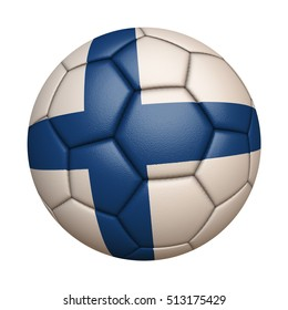 Close-up of flag football / soccer ball of Finland isolated on white (High-resolution 3D CG rendering illustration)