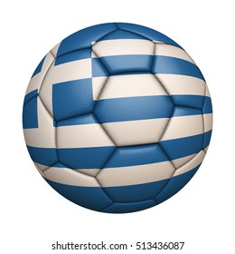 Close-up of flag football / soccer ball of Greece isolated on white (High-resolution 3D CG rendering illustration)