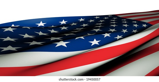 Close-Up of the flag of the U.S.A. with fabric appeal in an extreme angle. The realistic fabric structure makes this picture ideal for large print or partial close-ups. Clipping path included.