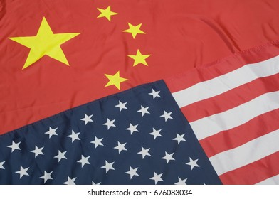 Closeup of Flags of United States Of America and China
