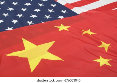 Closeup of Flags of United States Of America and China - Shallow Depth Of Field