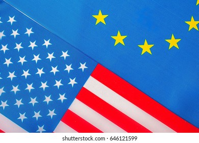 Closeup of Flags of USA and European Union. political concept